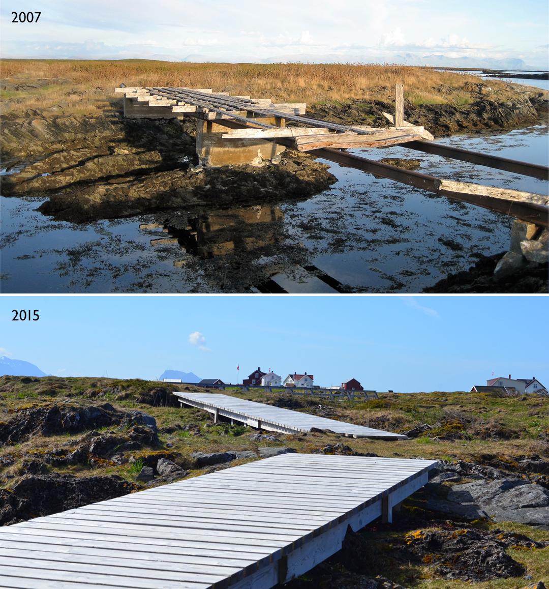 Alle gangbruene på øya er restaurert slik at turister kan ferdes trygt